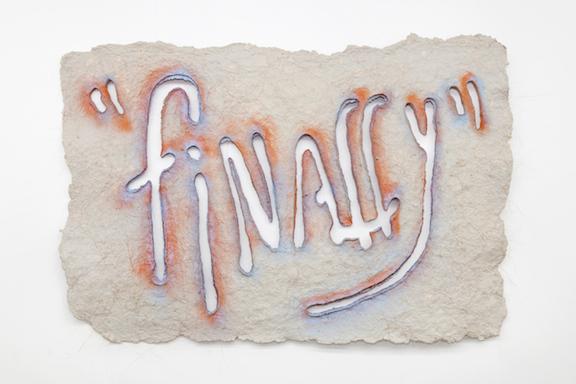 Miami-Dutch, Untitled , 2015,newspaper pulp, abaca fiber, abaca pulp, spray paint,40 x 59 x 0.5 in