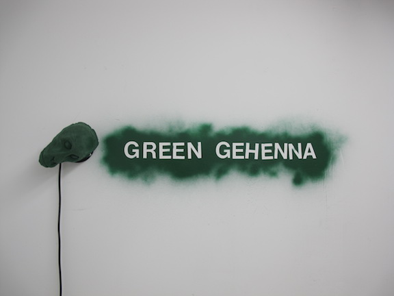 Jeffrey Joyal,  Green Gehenna , 2015, flocked plaster, motor, spray paint, dimensions variable