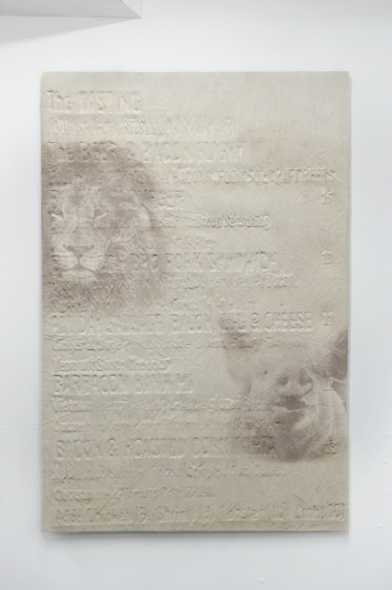 Michael Assiff,  Untitled (Barbacon Menu, Babe and Cecil) , plastic and ink on canvas, 48 x 32 in