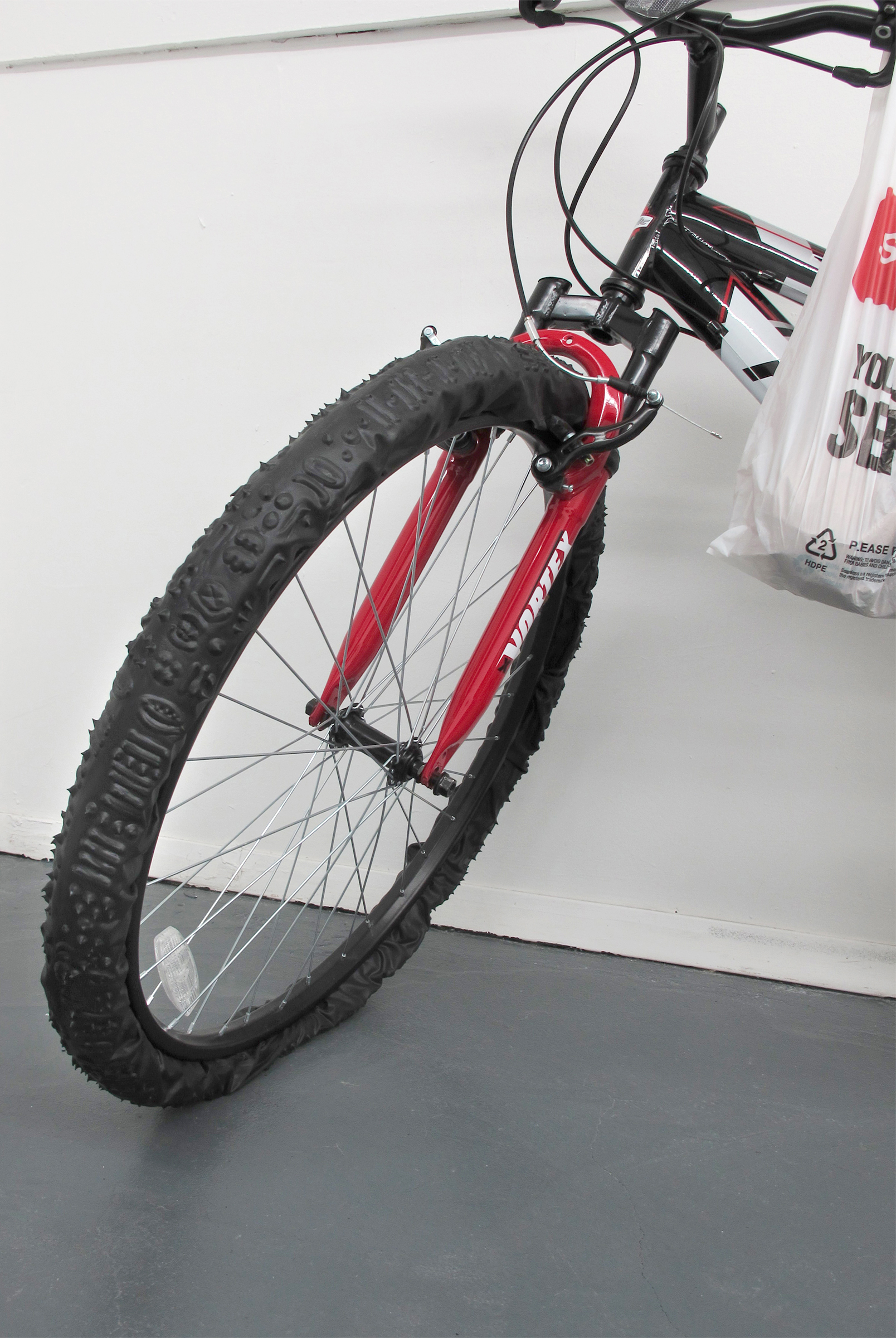Michael Assiff, Bike  (Seamless, French Intervention in Mexico) , 2015, bicycle, plastic and grocery bags, dimensions variable