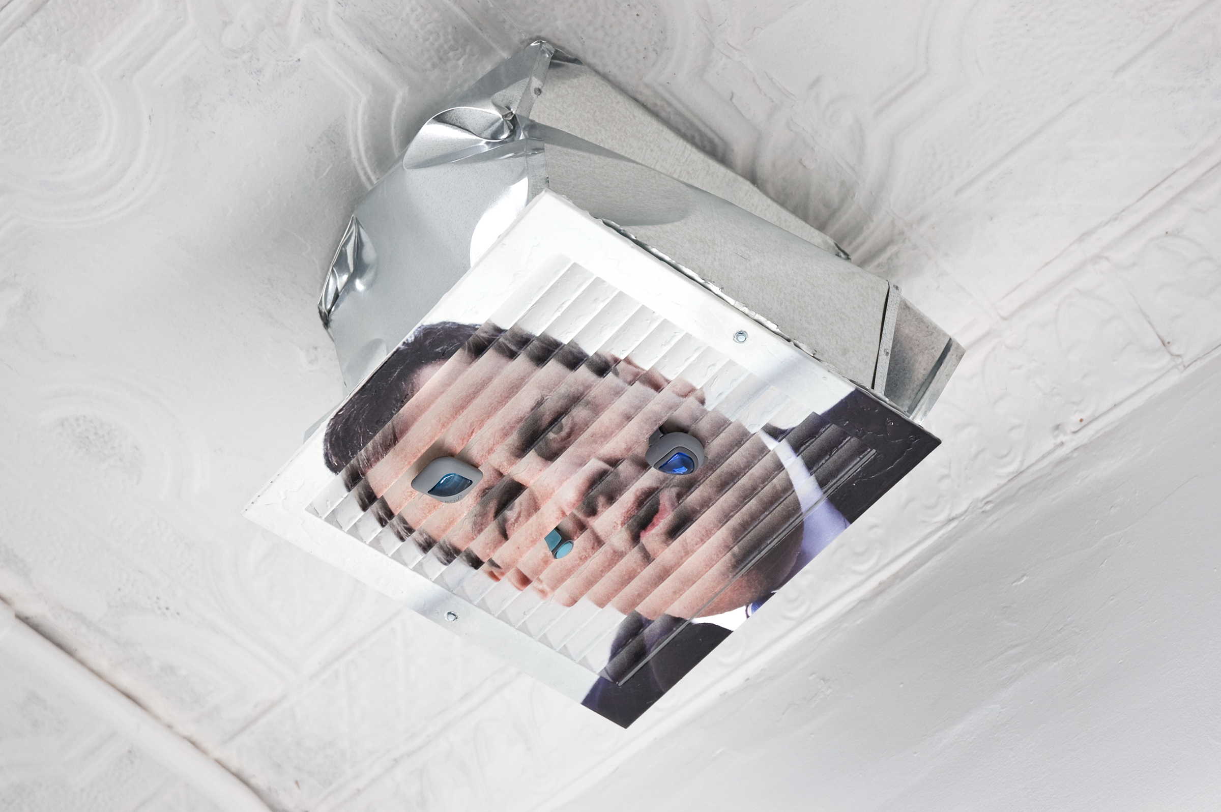 Michael Assiff,  HVAC (Chris Christie) , 2015, inkjet print and latex on powder coated steel, air fresheners, 11.75 x 13.75 x 16 in