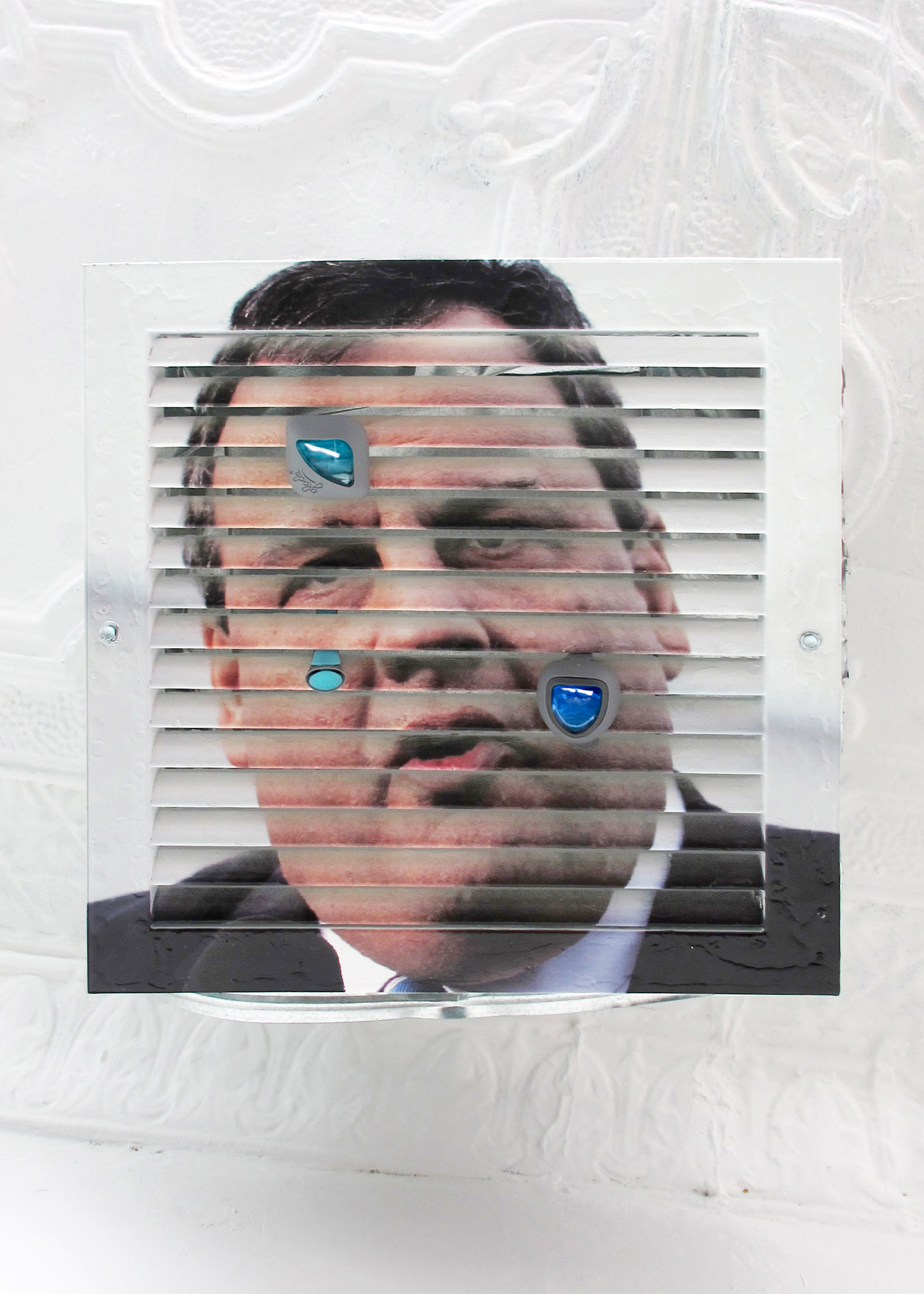 Michael Assiff,  HVAC (Chris Christie)  (detail), 2015, inkjet print and latex on powder coated steel, air fresheners, 11.75 x 13.75 x 16 in