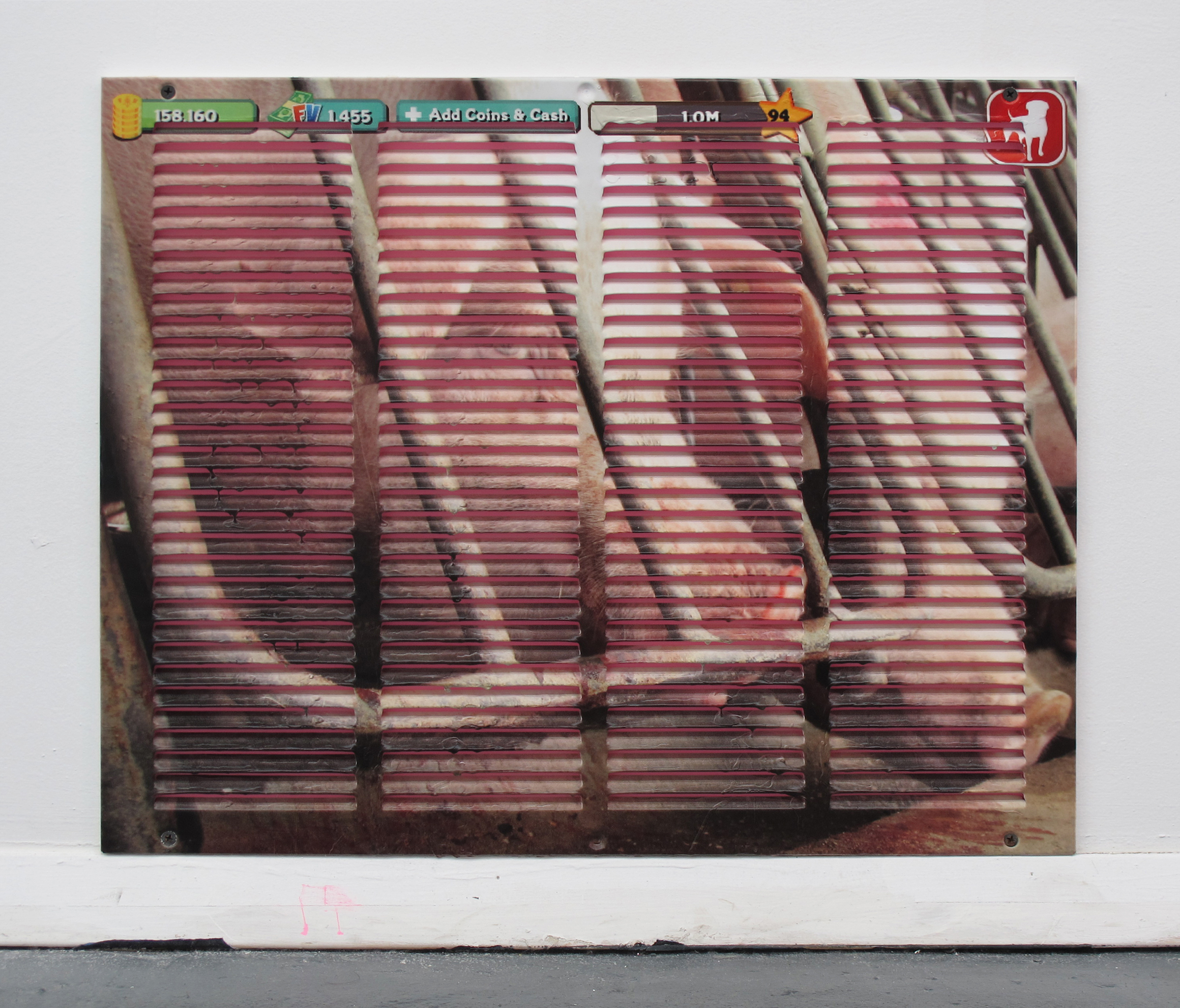 Michael Assiff,  Vent (Gestation Crate) , 2015, inkjet print and latex on powder coated steel, 21.75 x 21.75 inches