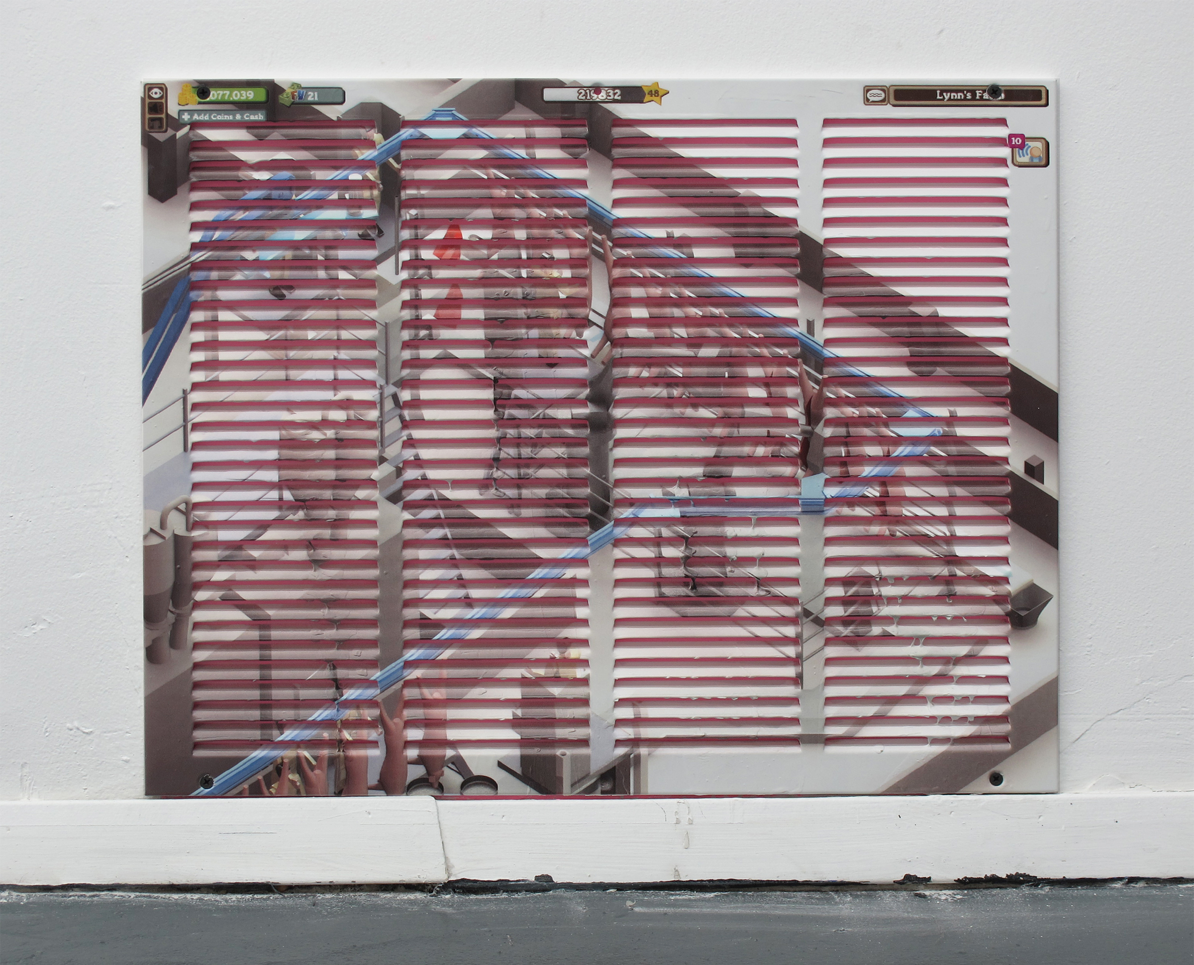 Michael Assiff,  Vent (Automated Slaughter House) , 2015, inkjet print and latex on powder coated steel, 21.75 x 21.75 inches