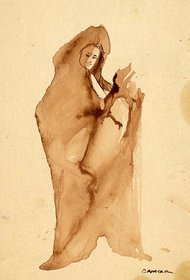 Cameron, Hermit, n.d.,watercolor on paper 6.25 x 4.25 in