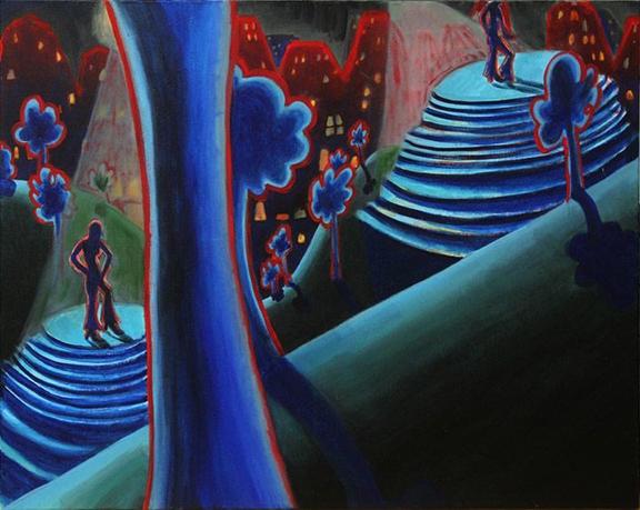 Annie Pearlman, 2 Dancers , 2012,acrylic and acrylic gouache on canvas,24 x 30 in