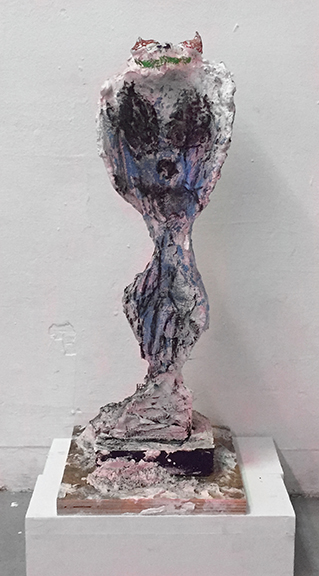 Bill Saylor, Cobra , 2015,wood, plaster, charcoal and crayon,20 x 7.5 x 7.5 in