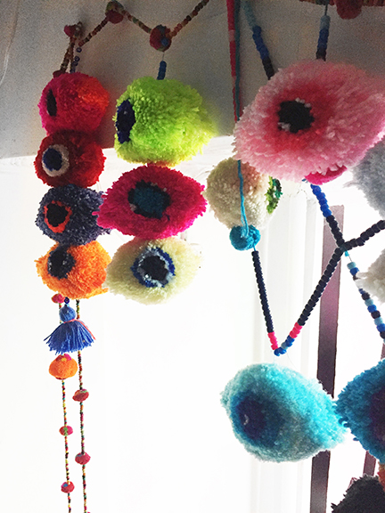 Michelle Tarantelli, Untitled , 2015,yarn and beads,dimensions variable