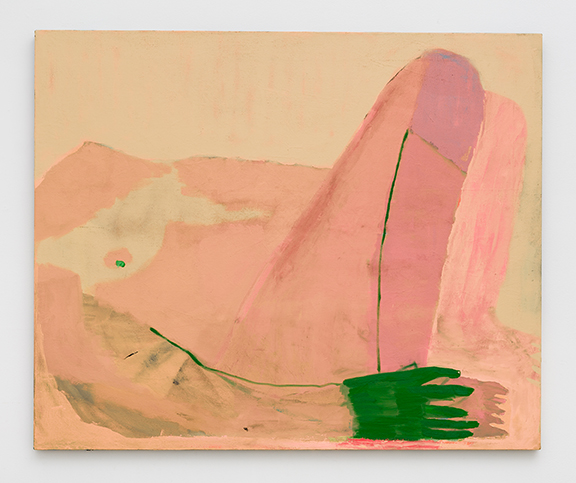 Sarah Faux,  Knees,  2012, oil, dye, bleach on canvas, 42 x 50 in