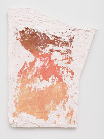 Sophie Stone,  Untitled (pink frame),  2013, plaster, canvas, ink on silver foam board, 37 x 28 x 1 in
