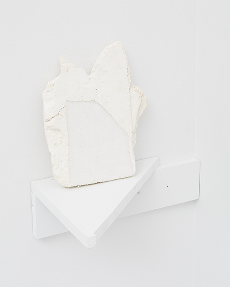 Sophie Stone, U ntitled (section of slab on shelf) , 2012, plaster, celotex, ink on wood, 6 x 10 x .5 in