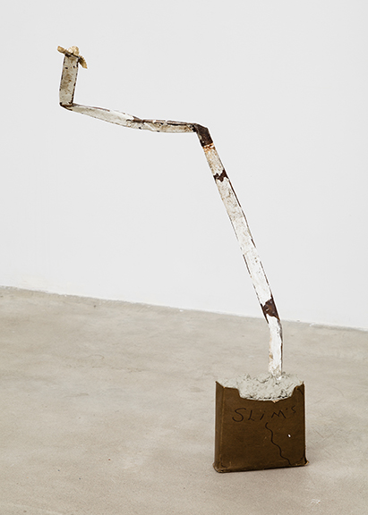 Alex DeCarli,  Snake no.1 (slim's snake),  2012, concrete, metal, cardboard, snake head, 40 x 9 x 1 in