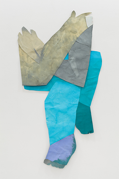 Sarah Faux,  Crossed body,  2012, dye, bleach, acrylic, watercolor on paper, 56 x 29 in