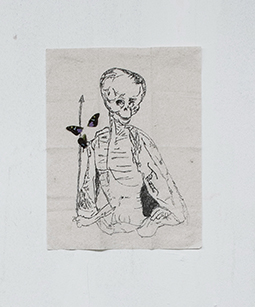 Jeffrey Joyal, Rotten ,2014, pen and butterfly wings on napkin,16 x 12 in