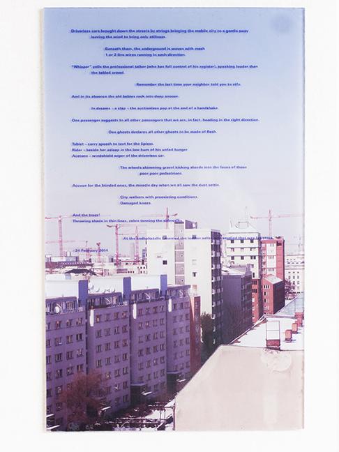 Dena Yago, TBA (TabletRiderAcetone), 2014,inkjet on panel,10 x 4 in