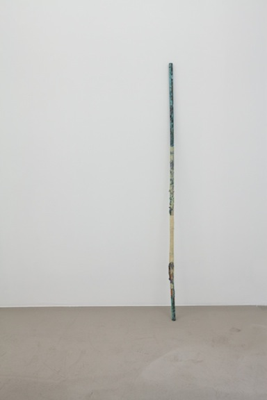 David Flaugher,  Horizon Line , n.d., paint and tape on oxidized copper, 60 x 1 in
