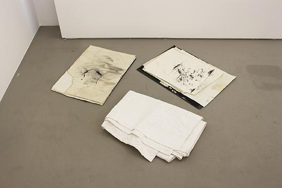 David Flaugher, 2 stacks, 15 individual drawings, 1 blanket , n.d., mixed media, dimensions variable
