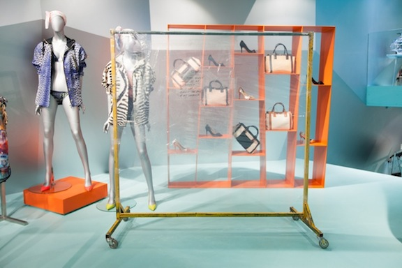 Win McCarthy,  Edge of my container , 2013, inkjet print on acetate, poly-vinyl sheeting, PVC tape, clothing rack, dimensions variable