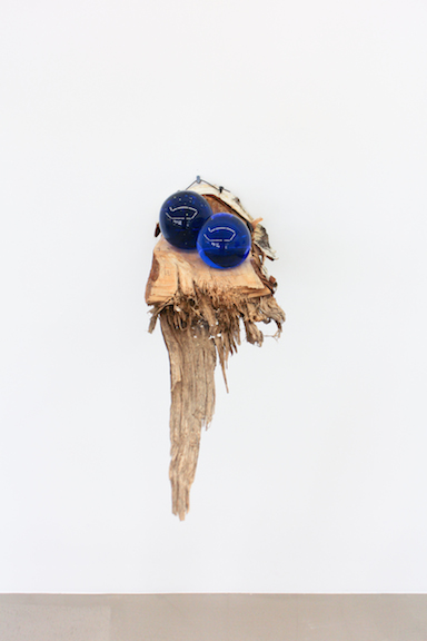 Elias Hansen, I can't put my finger on it , 2012, found objects, glass, silicone, wood, dimensions variable