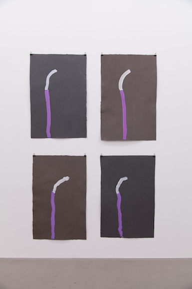 Ross Simonini,  2 Day Circuits , 2014, acrylic on paper, four sheets of paper: 30 x 20 in each