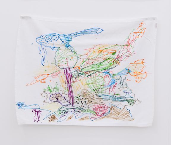 Ross Simonini, Podiatric Napkin III , 2013, ink on luxury bedside mat, 16 x 20 in
