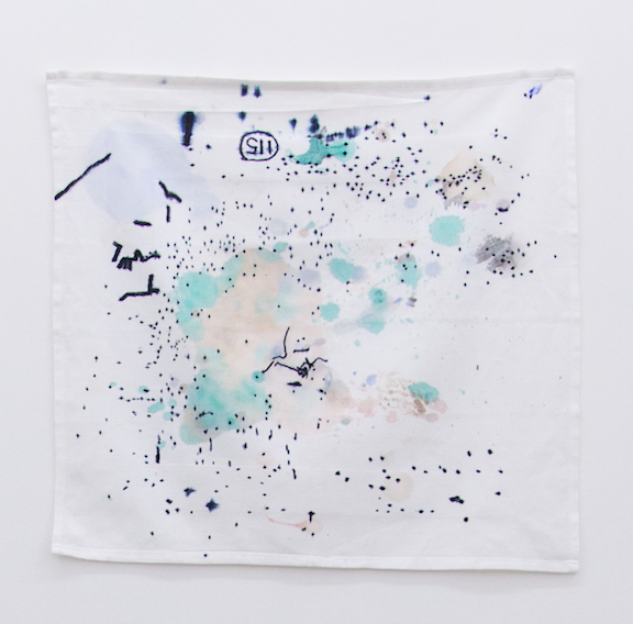 Ross Simonini,  Anxiety Napkin 22 , 2014, ink, food, and beverage on cloth napkin, 19 x 21 in
