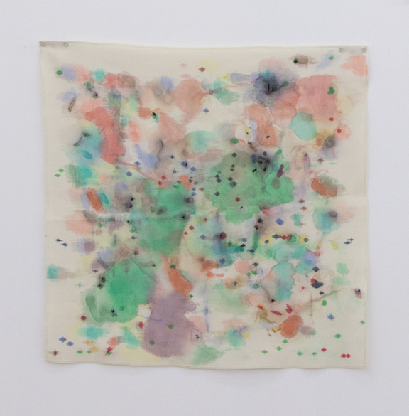 Ross Simonini,  Anxiety Napkin 23 , 2014, ink, food, and beverage on cloth napkin, 21 x 18 in