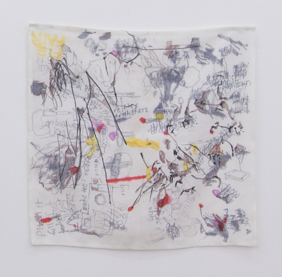 Ross Simonini,  Anxiety Napkin 24 , 2014, ink, food, and beverage on cloth napkin, 20 x 20 in