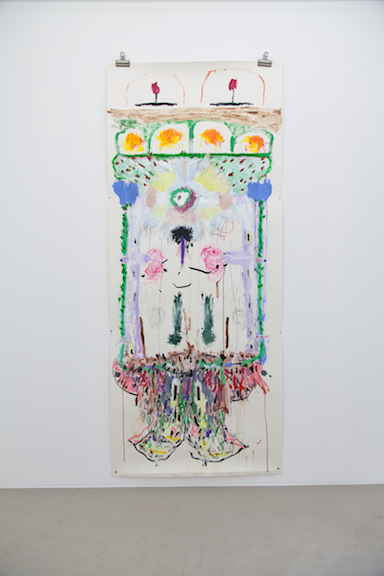 Ross Simonini,  Getting in touch with my Sympathetic Nervous System , 2013, pencil, ink, turmeric, cinnamon, green tea and acrylic on paper, 86 x 36 in