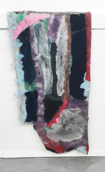 Sara Gernsbacher,  Freedom dump beyond the lake I see pines growing tall , 2015, pigmented silicone, vinyl paint, spray paint  and glitter on drop cloth, 46 x 22 in