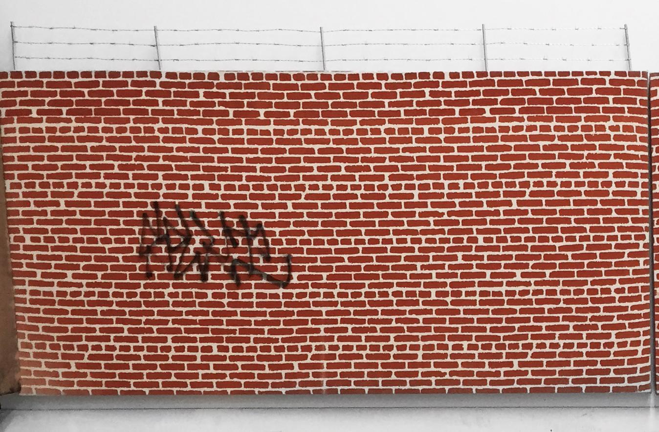 Pentti Monkkonen, Brick Wall (SEKT) , 2014,acrylic, aluminum, steel on canvas,26 x 44 in
