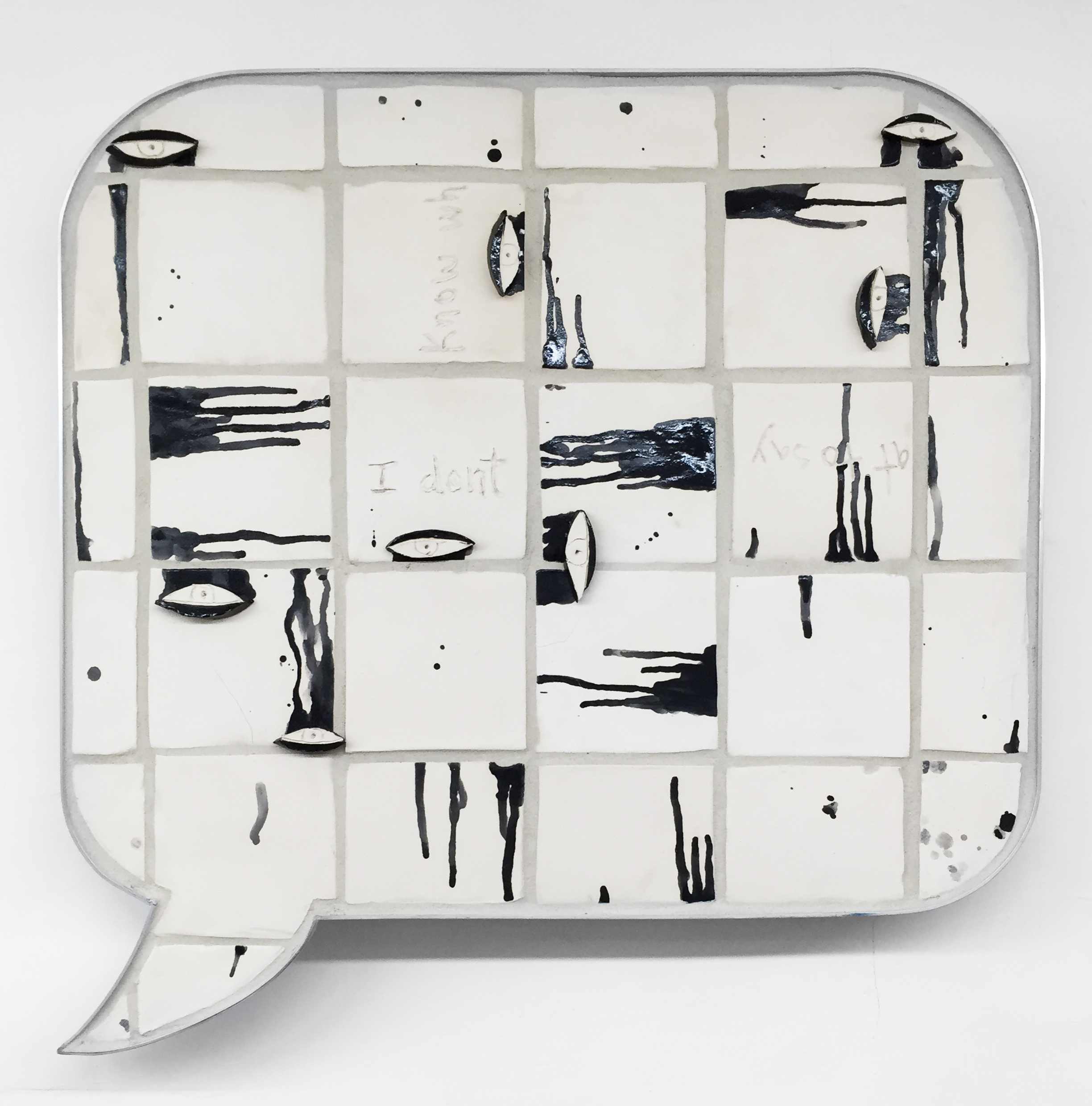 Liz Craft, I don't know what to say , 2014,ceramic, aluminum,29.25 x 30 x 1.5 in