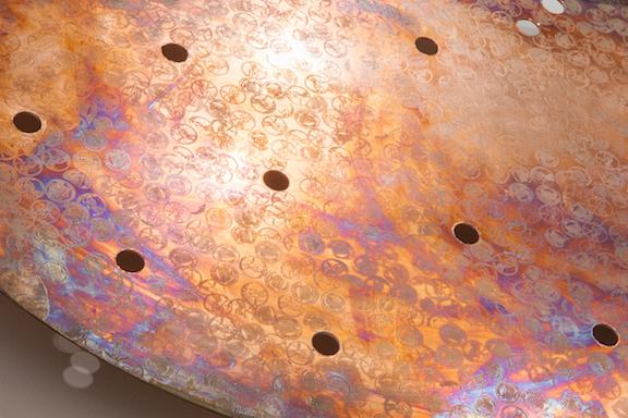 Jory Rabinovitz, EBB2 (B) (detail), 2014,melted pennies, pennies, Verdigris, fabric, rain water,dimensions variable