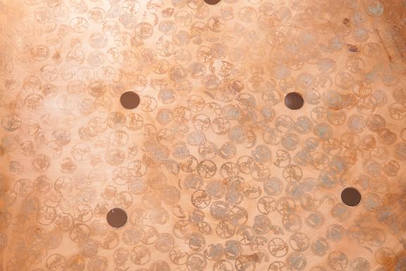 Jory Rabinovitz, EBB3 (B2) (detail), 2014,melted pennies, pennies, Verdigris, fabric, rain water,dimensions variable