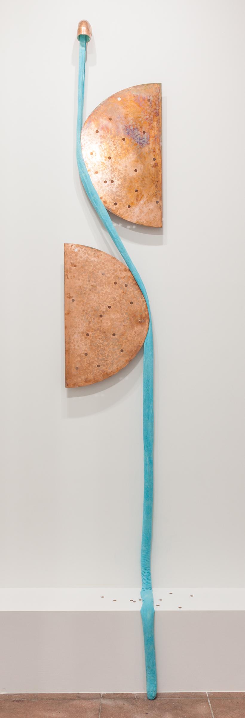 Jory Rabinovitz,  EBB3 (B2)  , 2014,melted pennies, pennies, Verdigris, fabric, rain water,dimensions variable