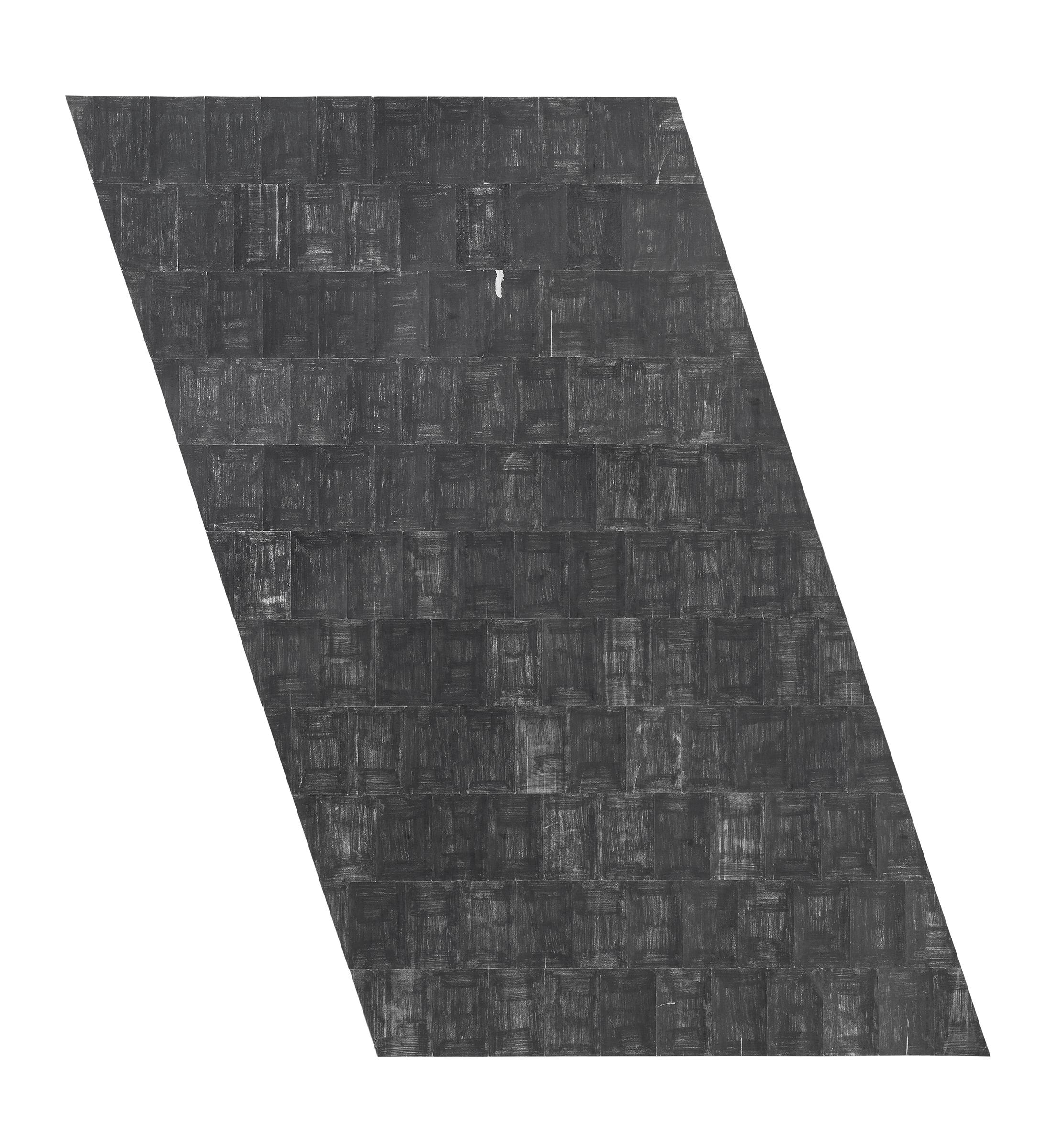Agnes Lux, R3 , 2015 postcards, graphite. 63.8 x 38.6 in