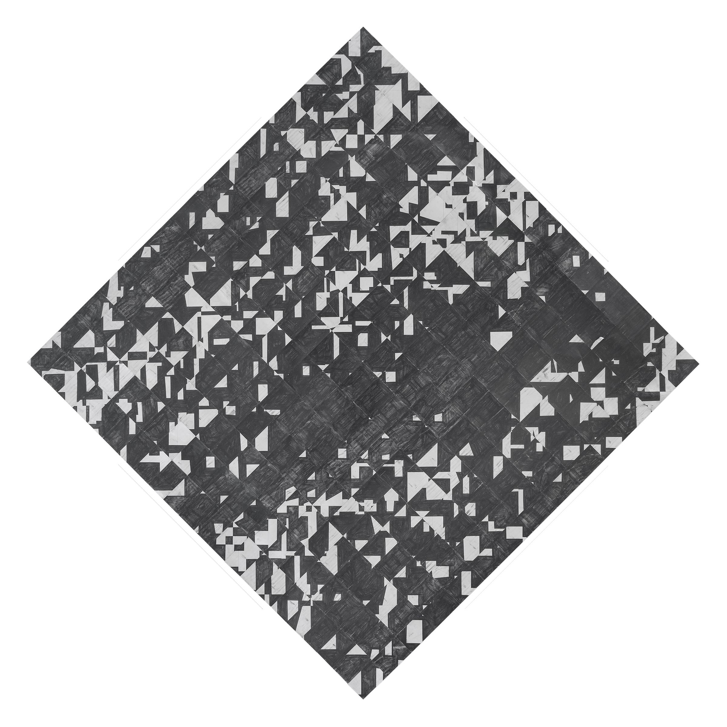Agnes Lux,  9-3-Q , 2015, postcards, graphite, 77.1 x 77.2 in
