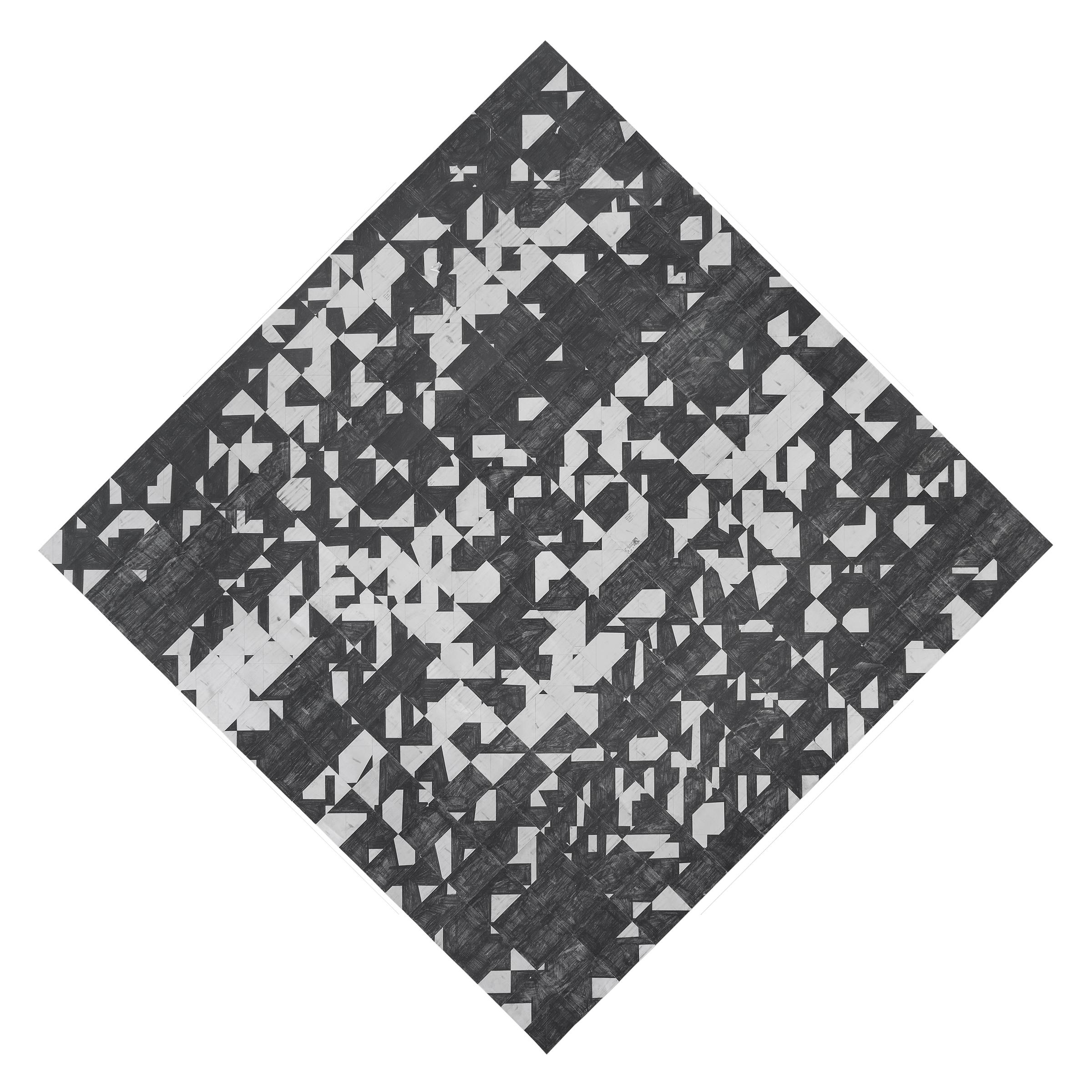 Agnes Lux,  5-Q-1 , 2015, postcards, graphite, 77.1 x 77.2 in