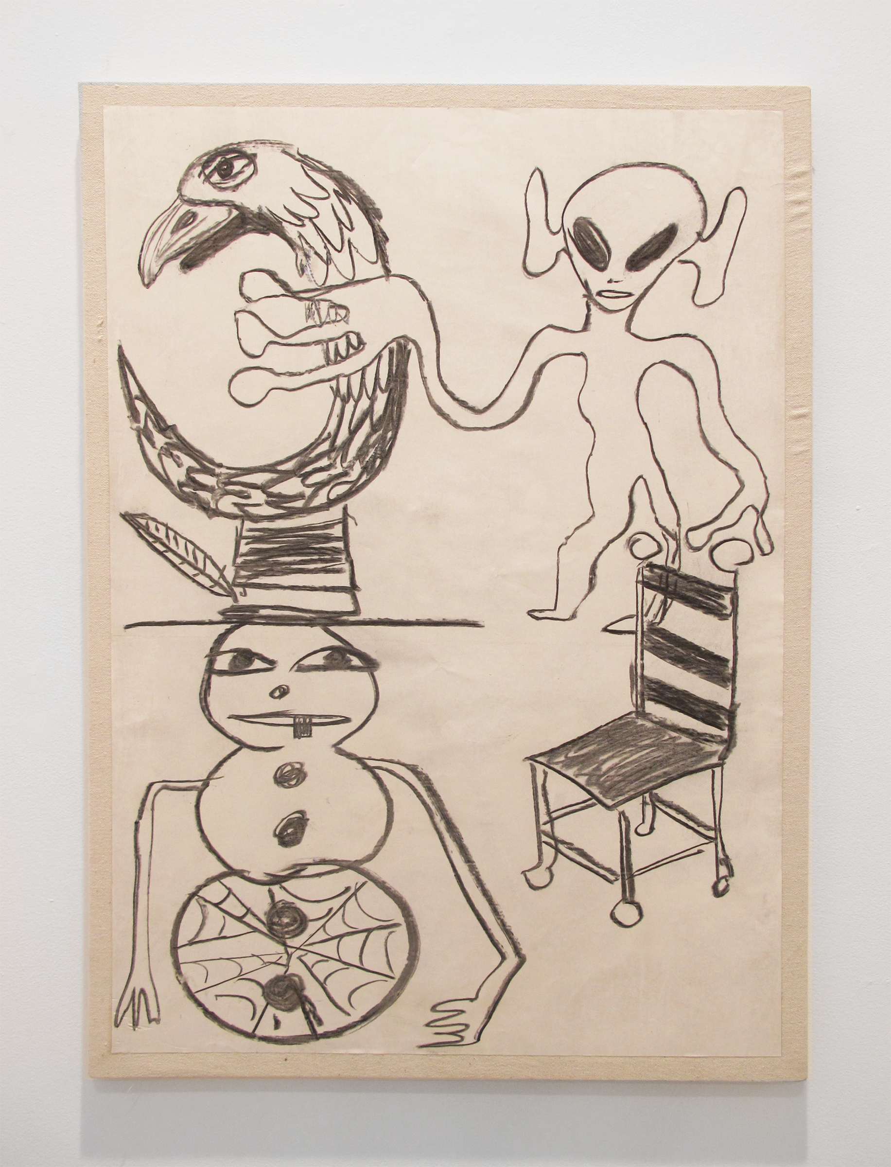 Bill Saylor, Think 2090 , 2014, charcoal, paper on canvas, 40 x 27 in