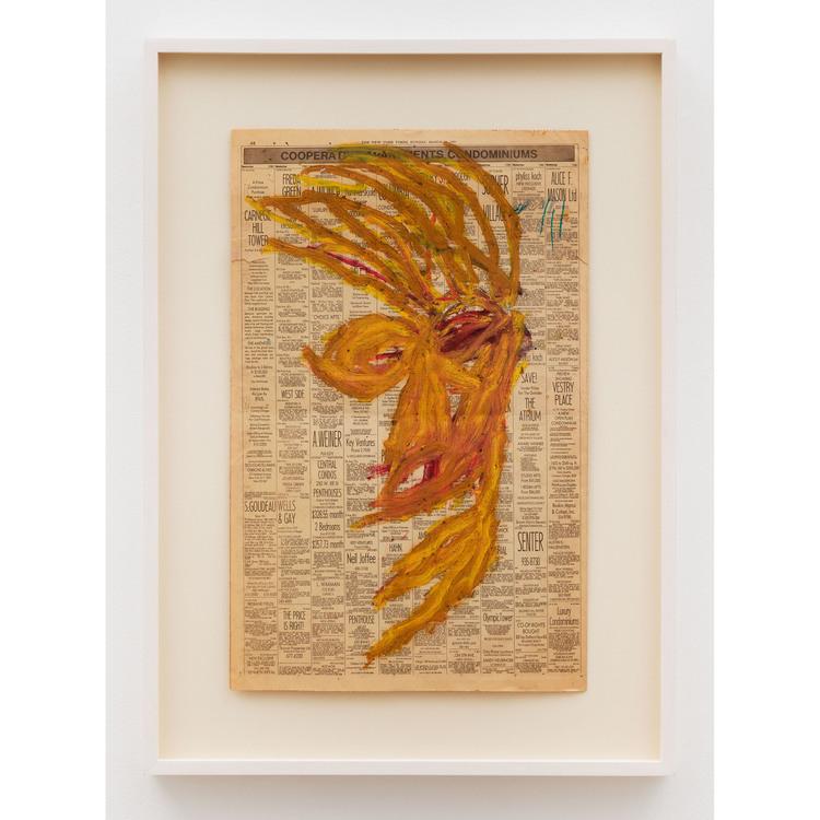 Dan Asher, Untitled , 1983, oil-stick on newsprint, 22.5 x 14.5 in