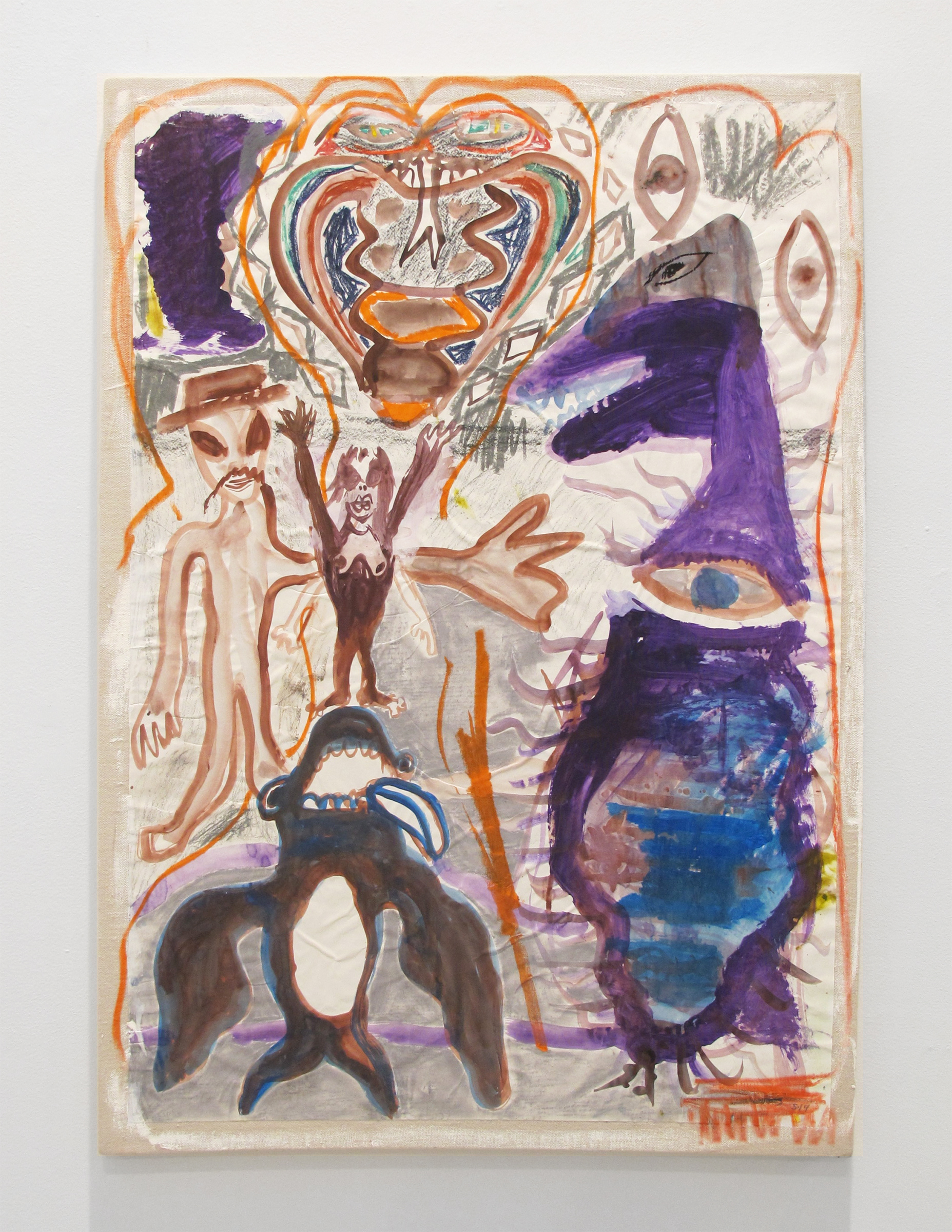 Bill Saylor, Under the big topless , 2014, flashe, ink, oil pastel, charcoal, paper on canvas, 40 x 27 in