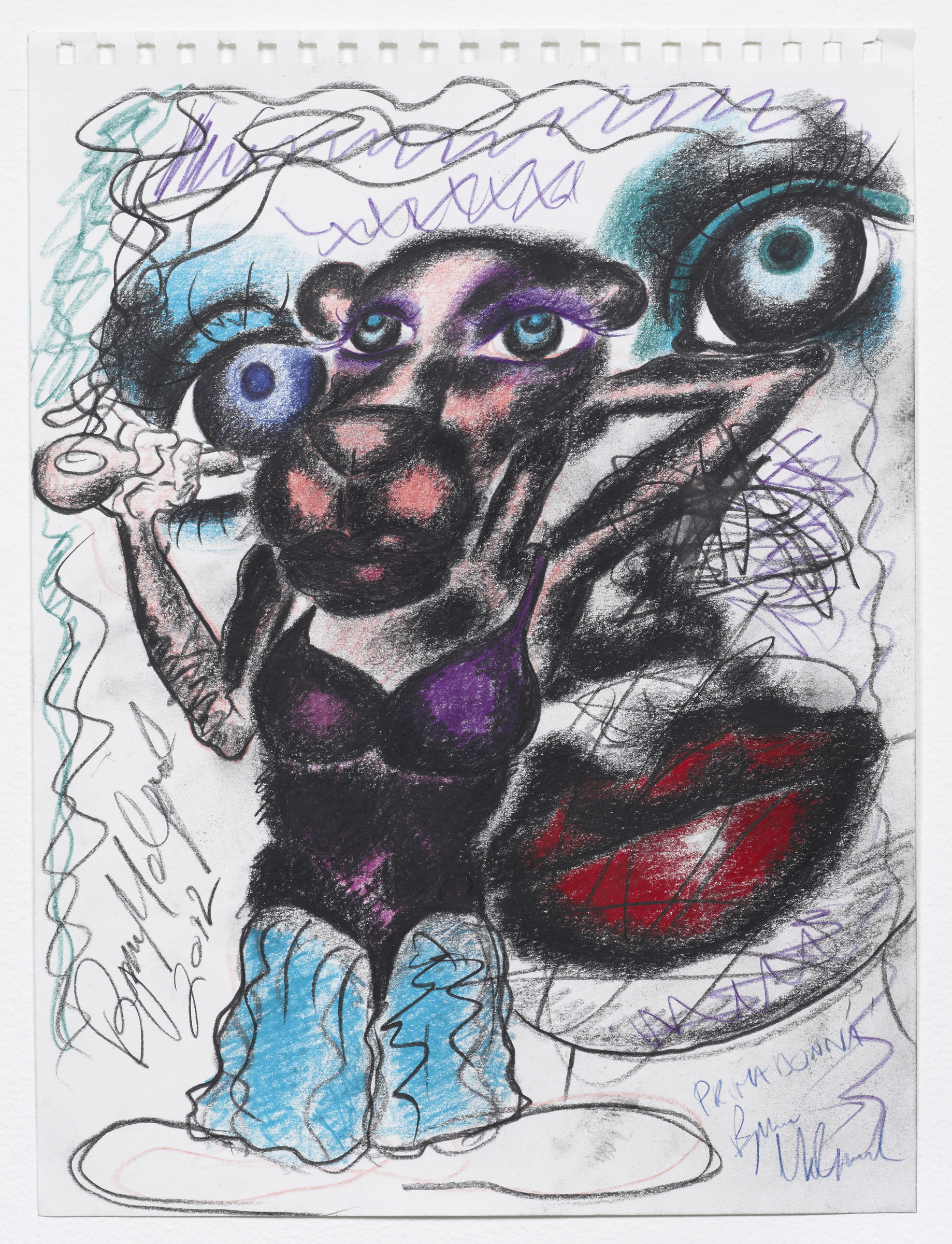 Bjarne Melgaard, Untitled , 2012, colored pencil on paper, 14.5 x 11 in