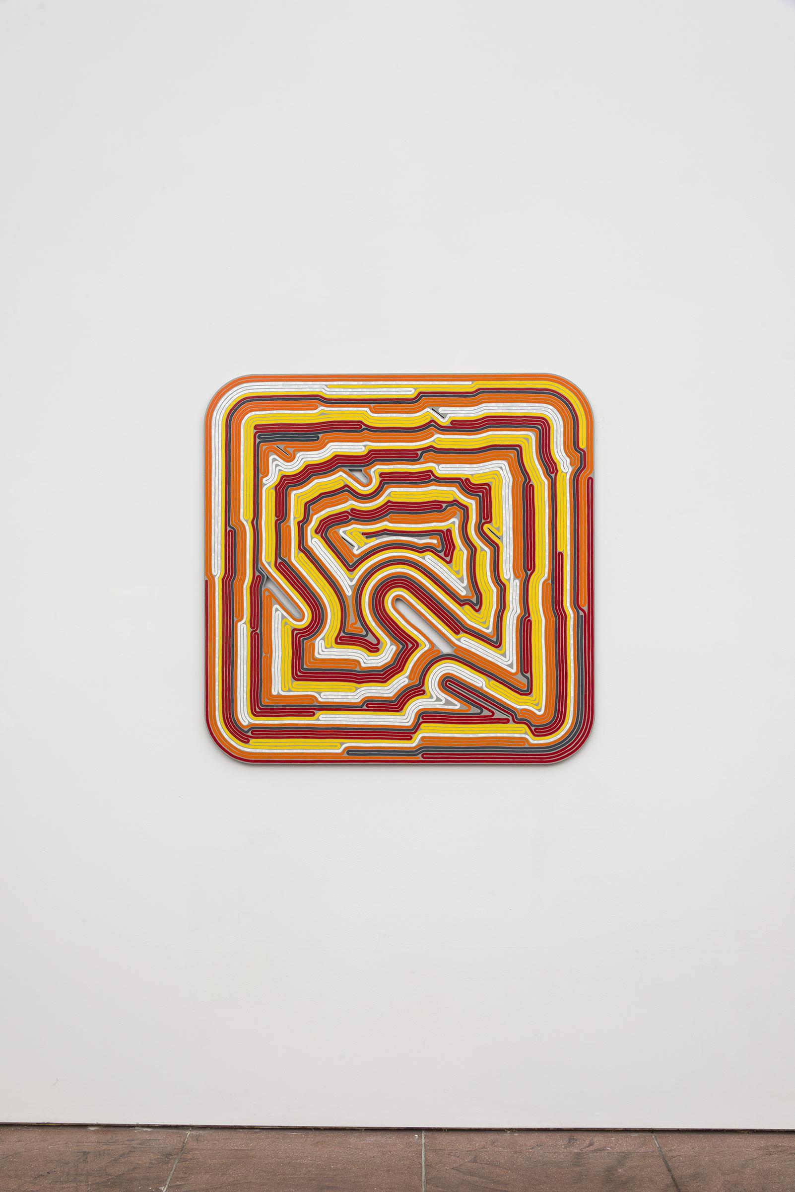 Roland Thompson, Cadmium Conundrum ,2015, acrylic on aluminum, 38 x 38 in
