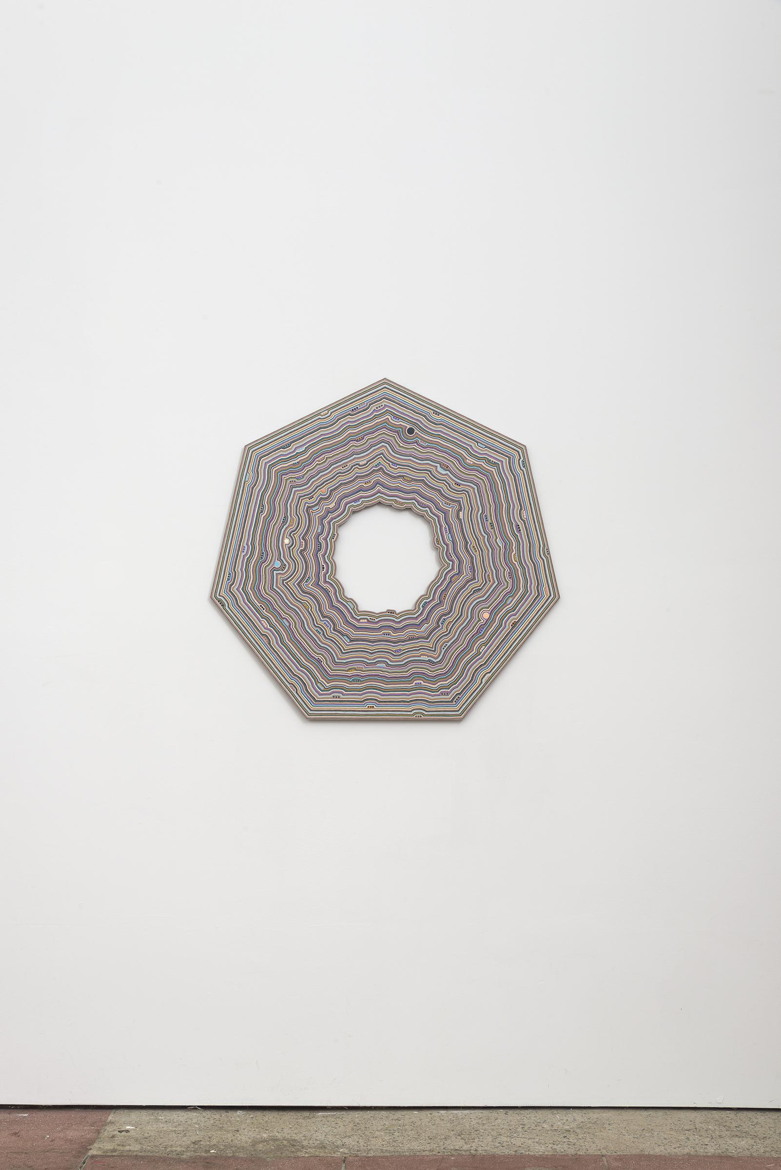 Roland Thompson, Orbit Swarm , 2016, acrylic on aluminum, 34 x 34 in