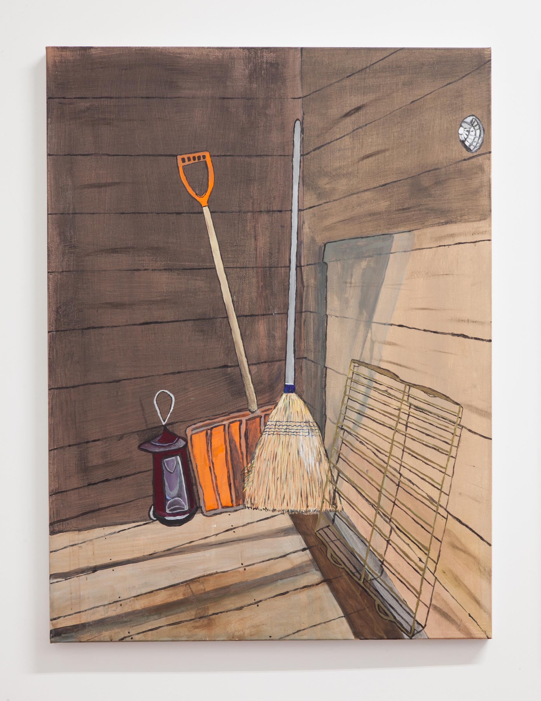 Jocko Weyland, Shovel and Broom , 2014,acrylic on canvas,48 x 36 in