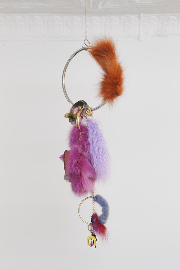 Monster Coat Club &Athena Papadopoulos,  Untitled , 2016, rabbit fur, image transfers, nail polish, hair dye, wool, wadding, jewelry chain, thread, silk, resin, hardware, 18 x 7 in