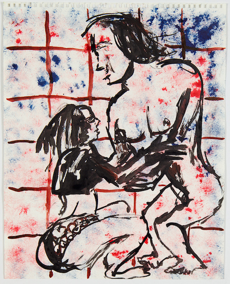 Sofi Brazzeal,  Untitled (two women) , 2016, ink on paper, 17 x 14 in