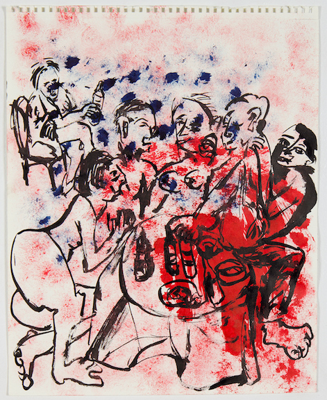 Sofi Brazzeal,  Untitled (group around table) , 2016, ink on paper, 17 x 14 in