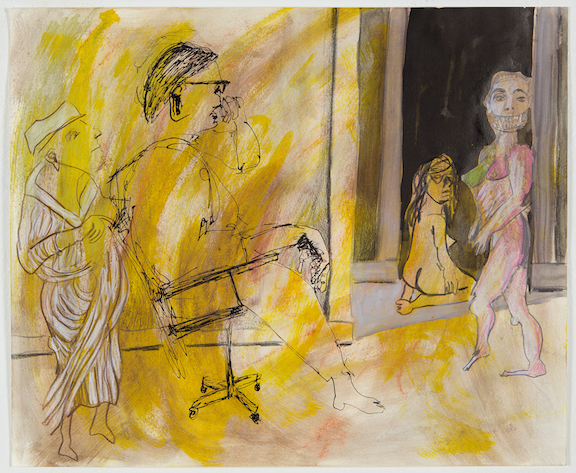 Sofi Brazzeal,  Untitled (Group with seated figure) , 2016, pencil, color pencil, oil pastel and ink on paper, 14 x 17 in
