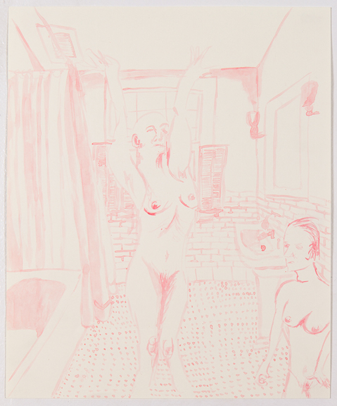 Sofi Brazzeal,  Untitled (women in bathroom 1) , 2016, ink on paper, 17 x 14 in